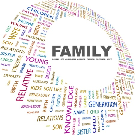 dynasty: FAMILY. Word collage on white background. Vector illustration. Illustration with different association terms.