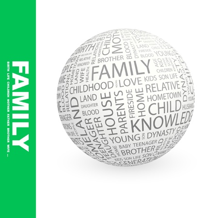 FAMILY. Globe with different association terms. Wordcloud vector illustration. Stock Vector - 8840199