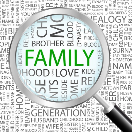 kin: FAMILY. Magnifying glass over background with different association terms. Vector illustration.