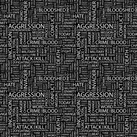 bloodshed: AGGRESSION. Seamless vector pattern with word cloud. Illustration with different association terms.