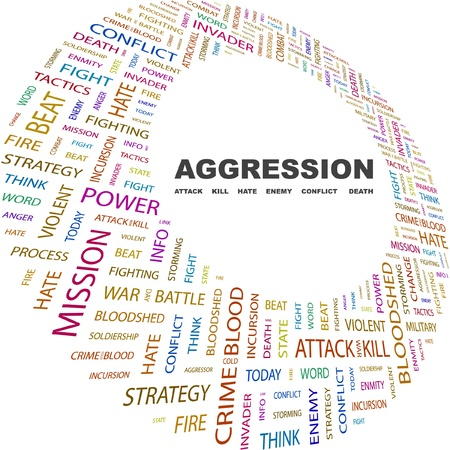 mix fighting: AGGRESSION. Word collage on white background. Vector illustration. Illustration with different association terms.