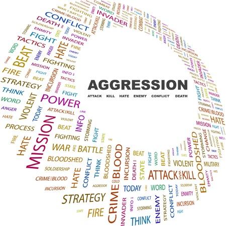 bloodshed: AGRESI�N. Collage de palabra sobre fondo blanco. Ilustraci�n vectorial. Ilustraci�n con t�rminos de asociaci�n diferente.