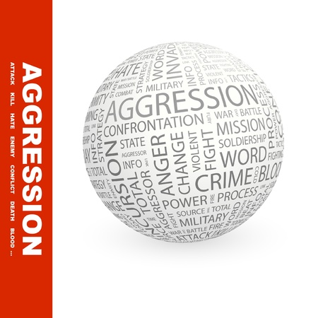 assailant: AGGRESSION. Globe with different association terms. Wordcloud vector illustration.