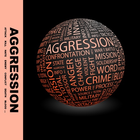 incursion: AGGRESSION. Globe with different association terms. Wordcloud vector illustration.