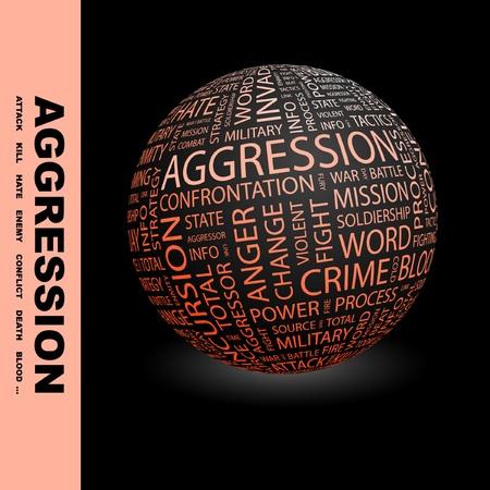 incursion: AGRESSION. Globe avec association diff�rents termes. Wordcloud vector illustration.