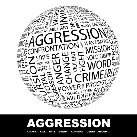 bloodshed: AGGRESSION. Globe with different association terms. Wordcloud vector illustration.