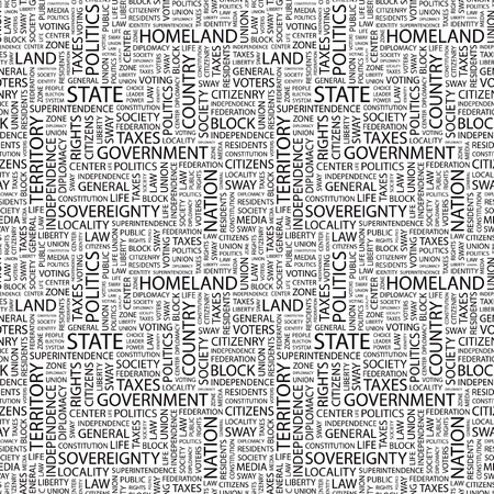 citizenry: STATE. Seamless vector pattern with word cloud. Illustration with different association terms.