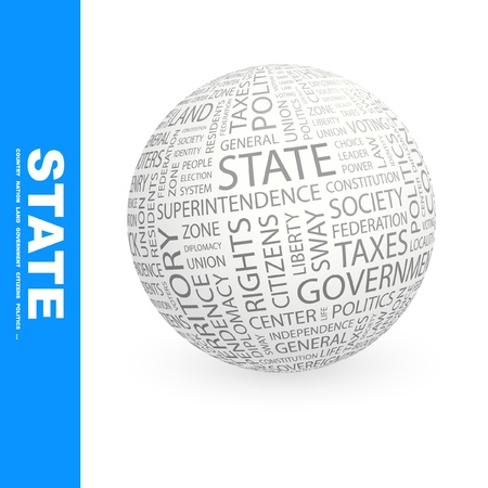 STATE. Globe with different association terms. Wordcloud vector illustration.