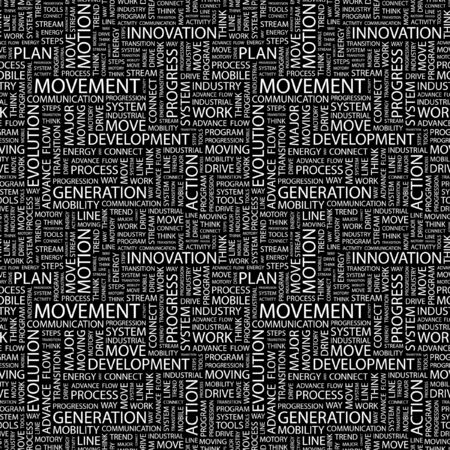 movable: MOVEMENT. Seamless vector pattern with word cloud. Illustration with different association terms.   Illustration