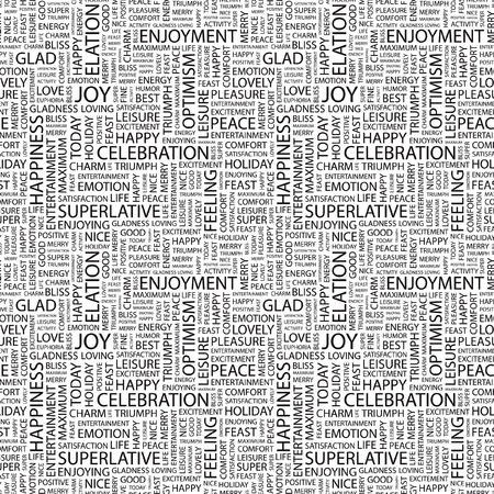 elation: JOY. Seamless vector pattern with word cloud. Illustration with different association terms.