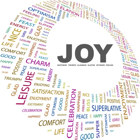 elation: JOY. Word collage on white background. Vector illustration. Illustration with different association terms.    Illustration