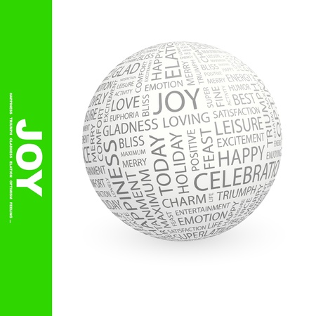 JOY. Globe with different association terms. Wordcloud vector illustration.   Vector