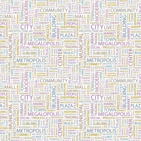 CITY. Seamless vector pattern with word cloud. Illustration with different association terms. Stock Vector - 9194218