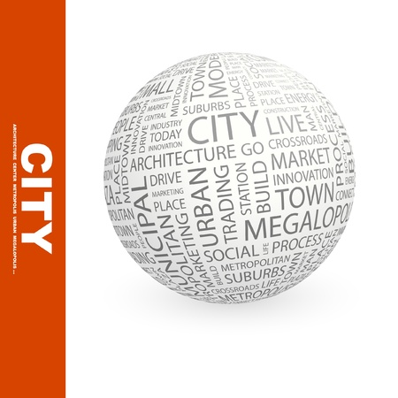 CITY. Globe with different association terms. Wordcloud vector illustration.   Vector