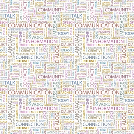 COMMUNICATION. Seamless vector pattern with word cloud. Illustration with different association terms.   Stock Vector - 9129245