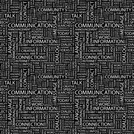 COMMUNICATION. Seamless vector background. Wordcloud illustration. Illustration with different association terms.   Vector