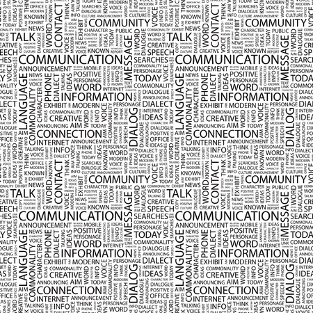 keywords backdrop: COMMUNICATION. Seamless vector pattern with word cloud. Illustration with different association terms.