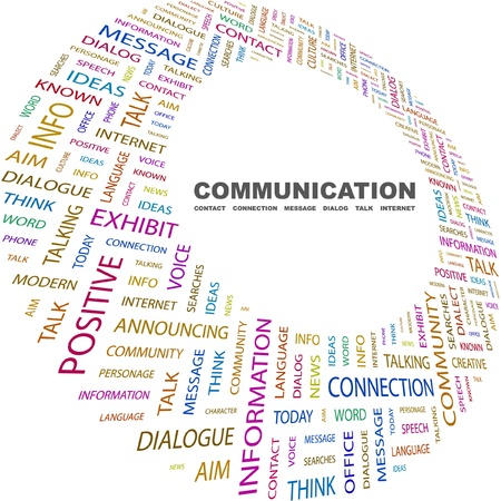 COMMUNICATION. Word collage on white background. Vector illustration. Illustration with different association terms.    Vector