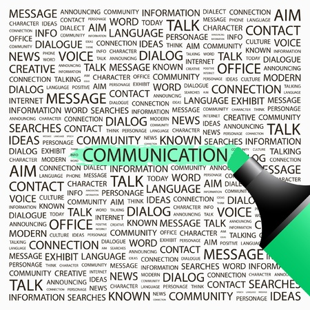 definitions: COMMUNICATION. Highlighter over background with different association terms. Vector illustration.