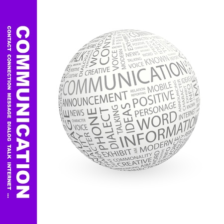 COMMUNICATION. Globe with different association terms. Wordcloud vector illustration.   Stock Vector - 9033902