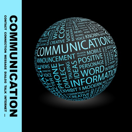 COMMUNICATION. Globe with different association terms. Wordcloud vector illustration. Stock Vector - 9194202