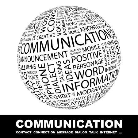 publication: COMMUNICATION. Globe with different association terms. Wordcloud vector illustration.
