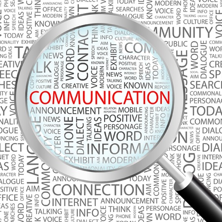 gente comunicandose: COMUNICACI�N. Lupa sobre fondo con t�rminos de asociaci�n diferente. Ilustraci�n vectorial.