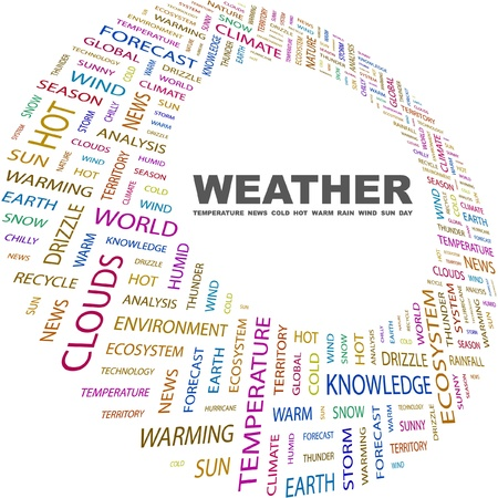 weather terms: WEATHER. Word collage on white background. Vector illustration. Illustration with different association terms.    Illustration