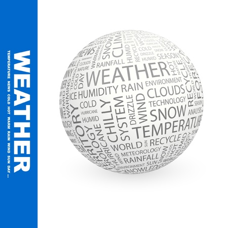 WEATHER. Globe with different association terms. Wordcloud vector illustration. Stock Vector - 9194197