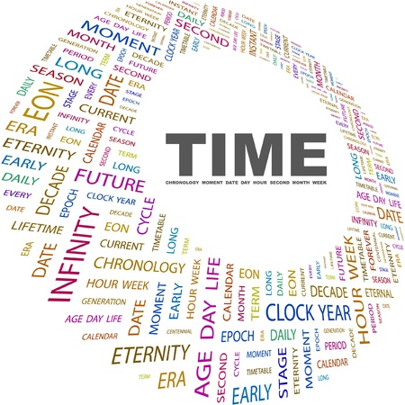 TIME. Word collage on white background. Vector illustration. Illustration with different association terms.