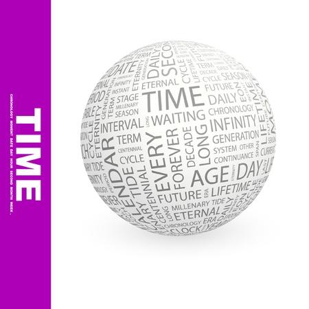long term: TIEMPO. Globo con t�rminos de asociaci�n diferente. Ilustraci�n vectorial de Wordcloud.