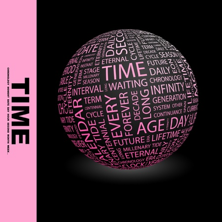 TIME. Globe with different association terms. Wordcloud vector illustration.   Vector