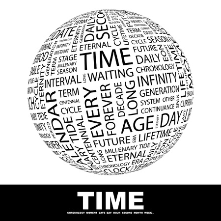 eternal life: TIME. Globe with different association terms. Wordcloud vector illustration.