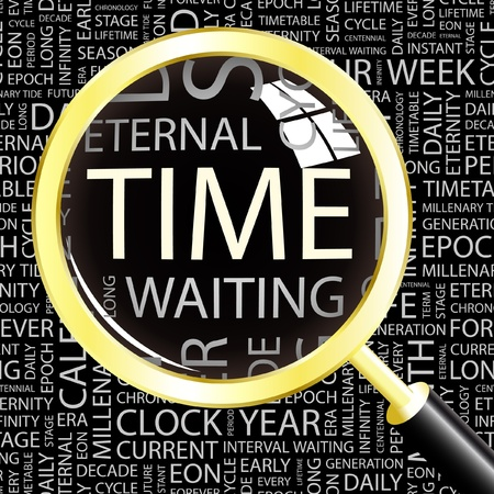 TIME. Magnifying glass over background with different association terms. Vector illustration.