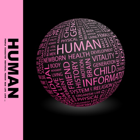 civilized: HUMAN. Globe with different association terms. Wordcloud vector illustration.   Illustration