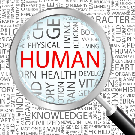 asociacion: LOS HUMANOS. Lupa sobre fondo con términos de asociación diferente. Ilustración vectorial.   Vectores