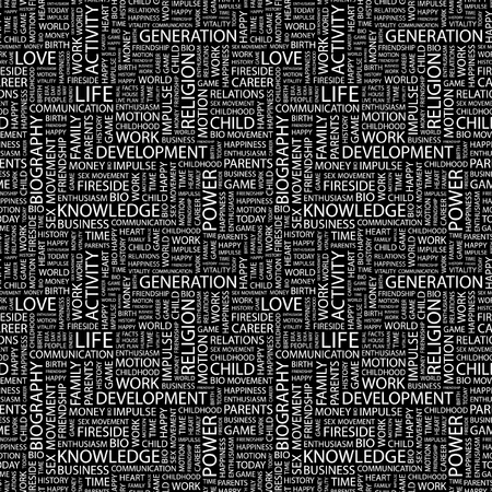 LIFE. Seamless vector pattern with word cloud. Illustration with different association terms.   Vector