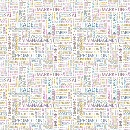 TRADE. Seamless vector pattern with word cloud. Illustration with different association terms.   Ilustração