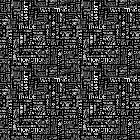 TRADE. Seamless vector background. Wordcloud illustration. Illustration with different association terms.