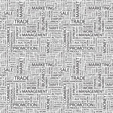 TRADE. Seamless vector pattern with word cloud. Illustration with different association terms.   Vector