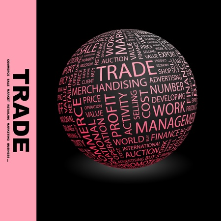 world trade center: TRADE. Globe with different association terms. Wordcloud vector illustration.
