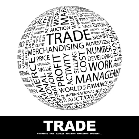 occupying: TRADE. Globe with different association terms. Wordcloud vector illustration.