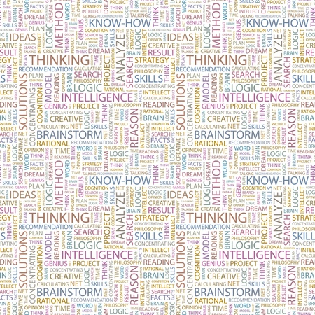 association imagine: THINKING. Seamless vector background. Wordcloud illustration. Illustration with different association terms.