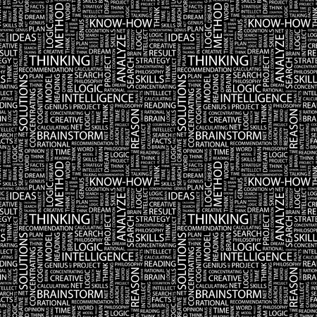 association imagine: THINKING. Seamless vector pattern with word cloud. Illustration with different association terms.