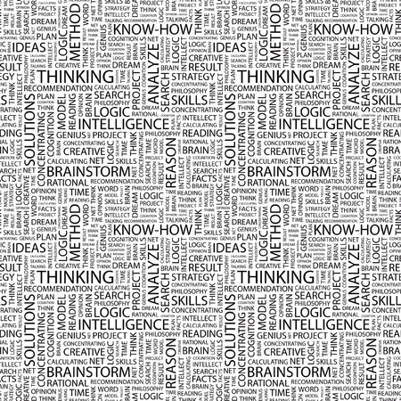 THINKING. Seamless vector pattern with word cloud. Illustration with different association terms.   Vector