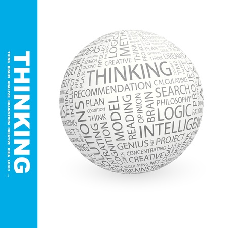 global thinking: THINKING. Globe with different association terms. Wordcloud vector illustration.