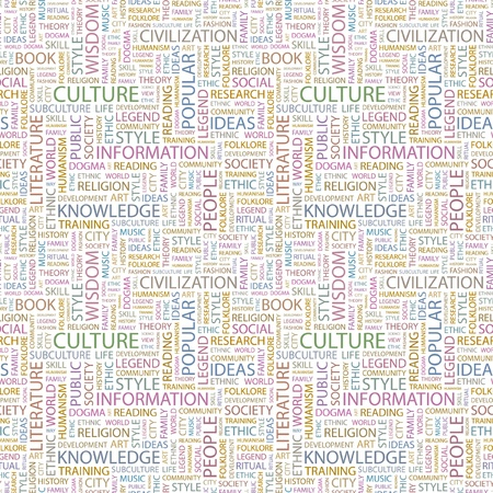 CULTURE. Seamless vector pattern with word cloud. Illustration with different association terms.   Vector