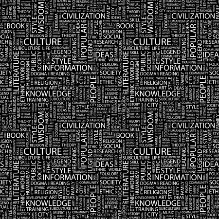 ethic: CULTURE. Seamless vector pattern with word cloud. Illustration with different association terms.   Illustration