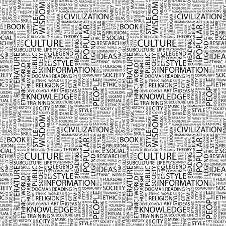 humanism: CULTURA. Patr�n de vector transparente con nubes de palabra. Ilustraci�n con t�rminos de asociaci�n diferente.   Vectores