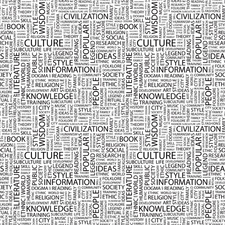 CULTURE. Seamless vector pattern with word cloud. Illustration with different association terms. Stock Vector - 9129625